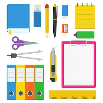 Stationery items icon vector set. flat design illustration