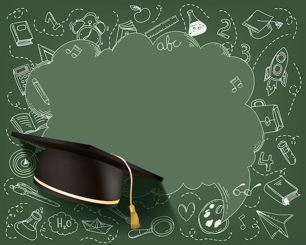 Рамка комплекта канцелярских принадлежностей с выпускной шляпой. вернуться к школьной концепции