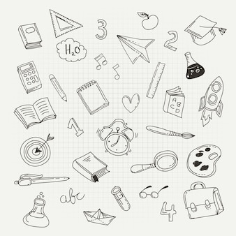 Stationery kit icons. back to school concept