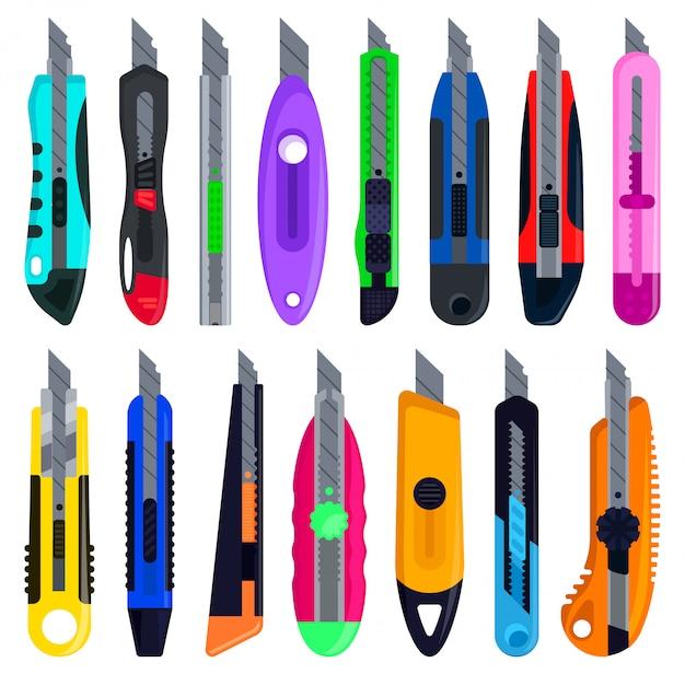 文房具のナイフは、漫画のアイコンを設定します。漫画セットアイコンカッター。白い背景の上の図の文房具のナイフ。