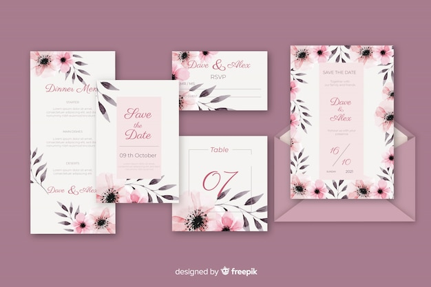 Stationery letter and envelope for wedding in violet shades