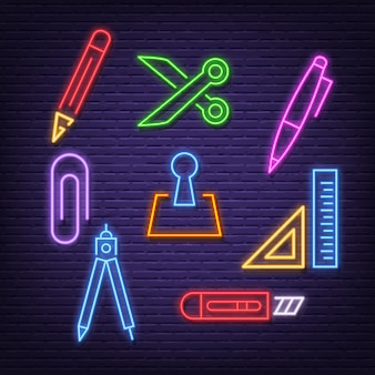 Stationery neon icons