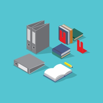 Stationery office supplies on color background