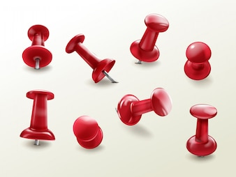 Stationery office thumbtack, realistic set of red glossy push pins for fixing on board remind