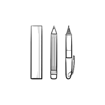 Stationery - ruler, pen and pencil hand drawn outline doodle icon. school supplies vector sketch illustration for print, web, mobile and infographics isolated on white background.