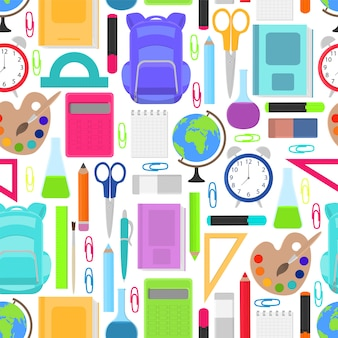 Stationery for school seamless pattern