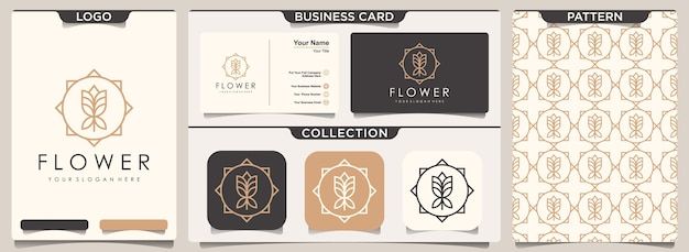 Stationery set of elegant flower pattern and business card