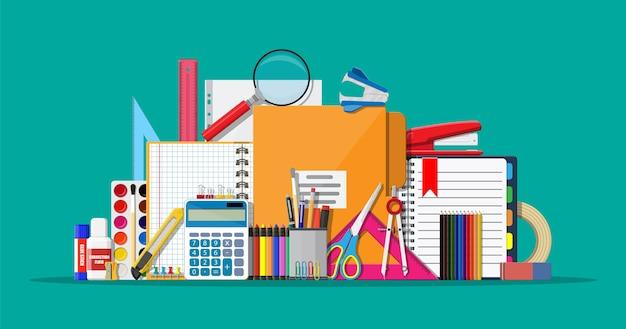 文房具セットアイコン。本、ノート、定規、ナイフ、フォルダー、鉛筆、ペン、計算機、はさみ、ペイントテープファイル事務用品学校オフィスおよび教育機器イラストフラットスタイル