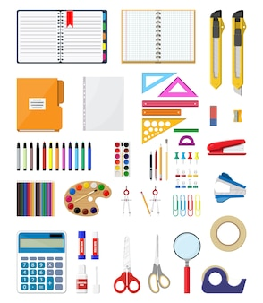 Stationery set icons. book, notebook, ruler, knife, folder, pencil, pen, calculator, scissors, paint tape file office supply school office and education equipment Premium Vector