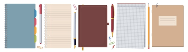 Stationery set. notebooks & notepads. collection