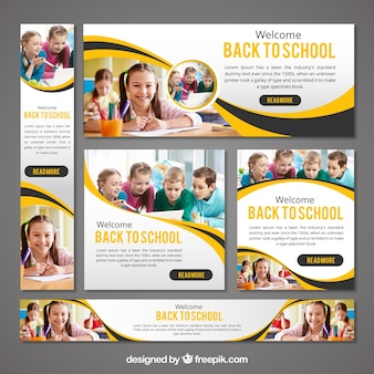 Stationery set of back to school banners