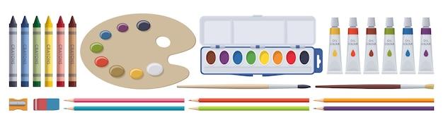 Набор канцелярских принадлежностей. краски, кисти, карандаши, мелки