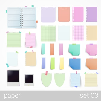 Stationery sheets of paper notebooks notepads
