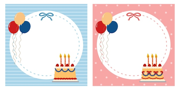 Stationery square memo note pad blank template. birthday party invitation for boy and girl.    frame border.
