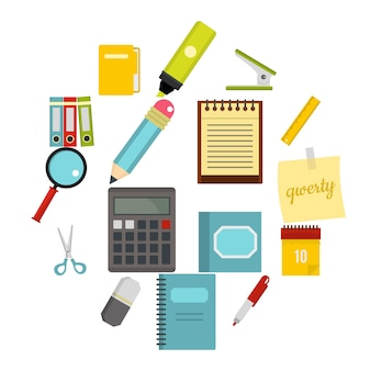 Stationery symbols icons set in flat style