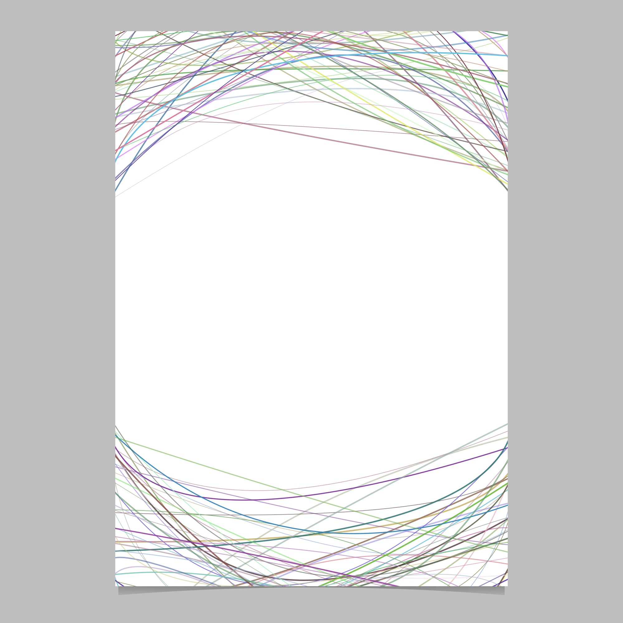 Stationery template with chaotic curved stripes - vector page design on white background