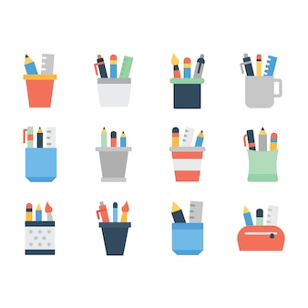 Stationery tools flat icons pack