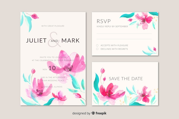 Stationery watercolor wedding template set