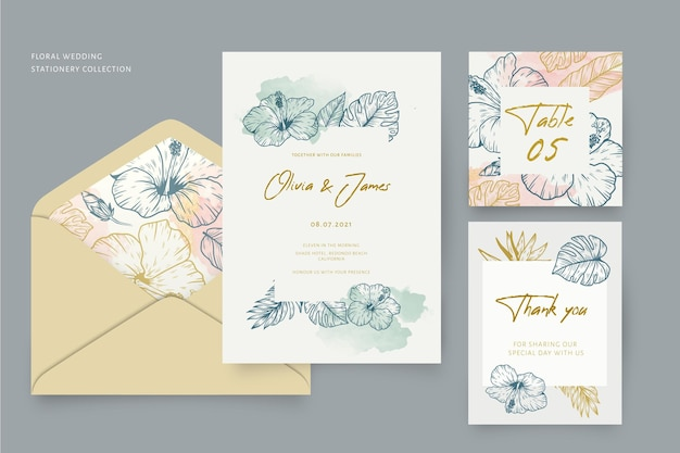 Stationery wedding collection with floral ornaments