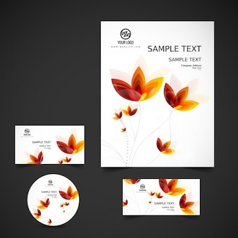 Stationery with abstract flowers