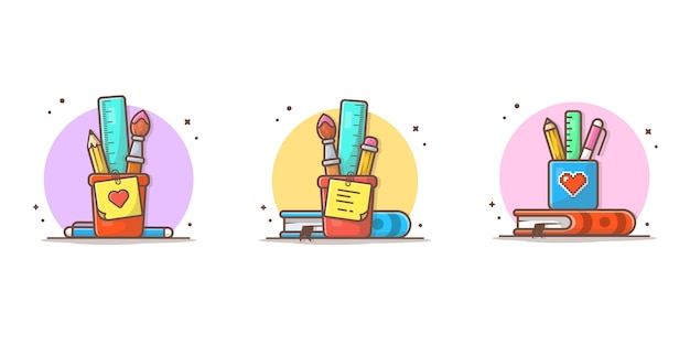 Stationery with ruler, pencil, paint brush and book  icon illustration