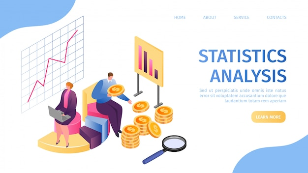 Statistic analysis, data marketing and management report landing page  illustration. process research financial growth, graph statistics, data analysis, business document, market, strategic.