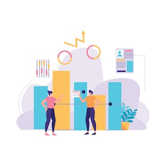 Statistic business report illustration