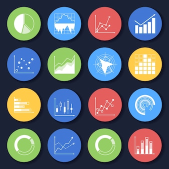 Statistic icons collection Free Vector
