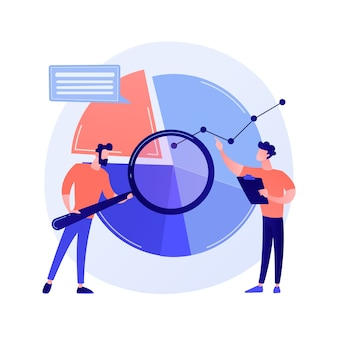 Statistical analysis. man cartoon character with magnifying glass analyzing data. circular diagram with colorful segments. statistics, audit, research concept illustration