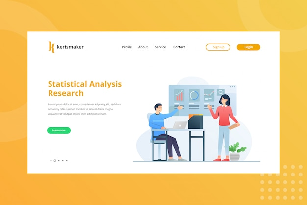 Statistical analysis research illustration for business management concept on landing page