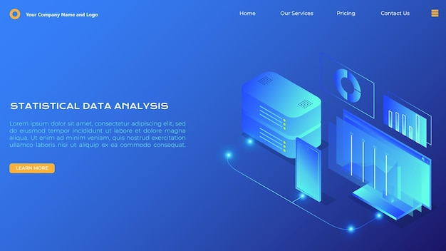 Statistical data analysis landing page in isometric