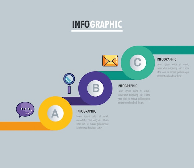 Statistical infographic with letters and business icons