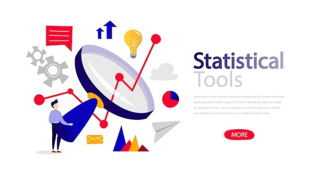 Webページの統計ツール水平バナーテンプレート。ウェブサイトのレスポンシブデザイン。赤いボタン。孤立したフラット