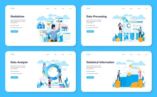 統計学者および統計webバナーまたはランディングページセット