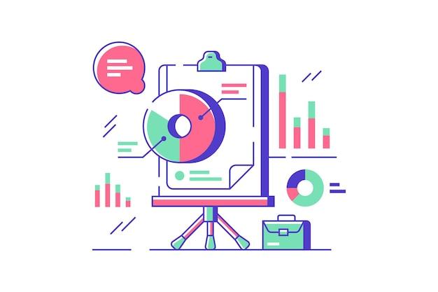 화이트 보드, 디지털 서비스의 통계 및 프리젠 테이션 아이콘.