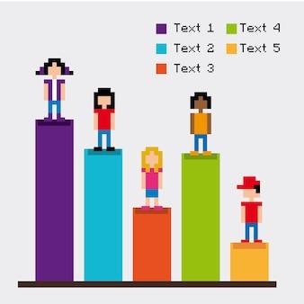 Statistics bars pixel design