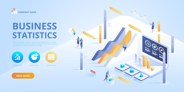 Statistics and business statement. isometric infographics for ba