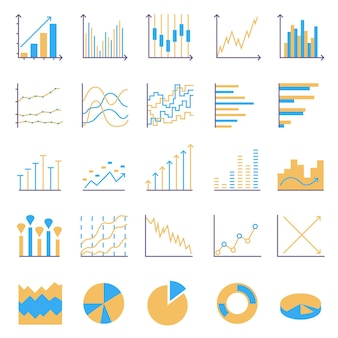 Statistics color icons. set of linear web elements. simple graphic, pie chart, column chart. thin line vector illustration