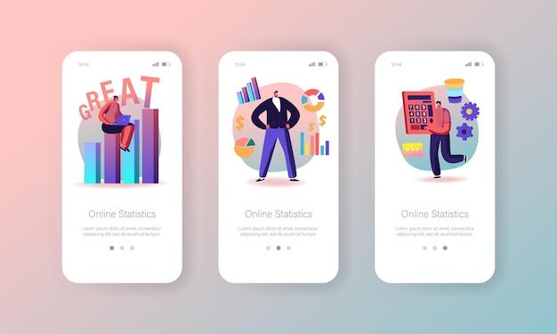 Шаблон встроенного экрана страницы мобильного приложения статистических данных