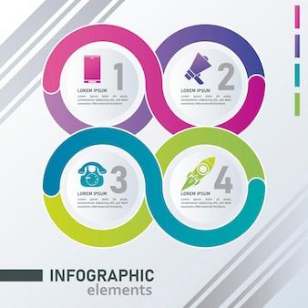 Статистика инфографика шаги с кругами на сером фоне