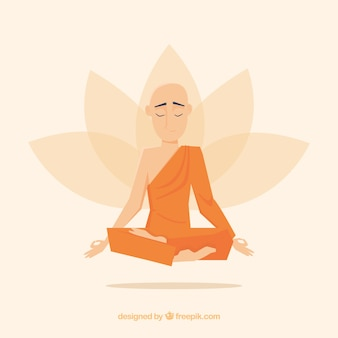 Statue of buddha background in flat style