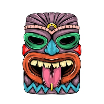 舌を出し、紫色のティキ島の特徴的な像