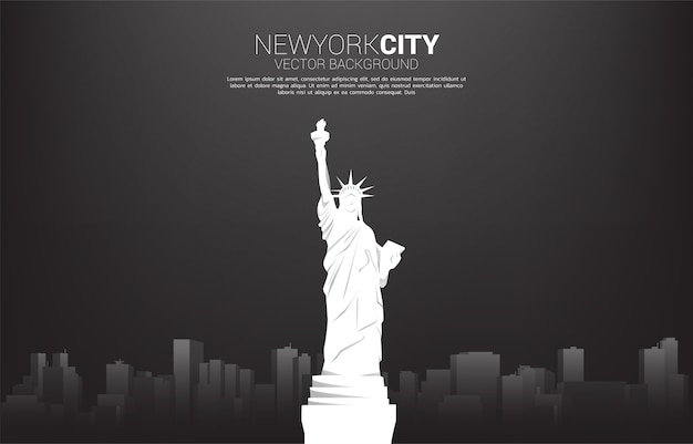 Statue of liberty and city background.background concept for new york city.