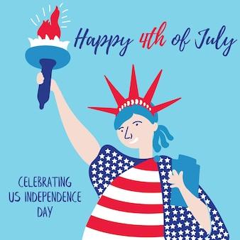 자유의 여신상은 미국 사람들의 휴일 독립 기념일 미국 7월 4일을 무료로 축하합니다.