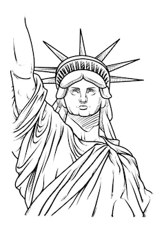 The statue of liberty hand drawn