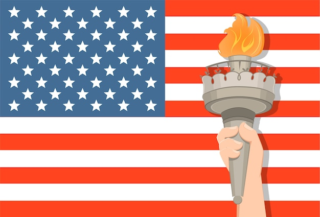 Statue of liberty hand with torch and usa flag