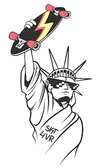 Statue of liberty holds skate in hand, skate board typography, t-shirt graphics.