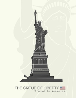 Statue of liberty isolated on gray
