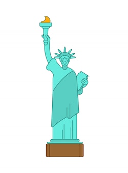 Statue of liberty linear style. landmark america.