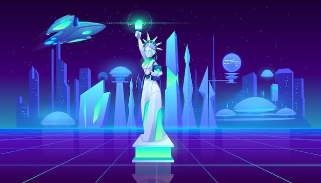 Statue of liberty neon city futuristic background